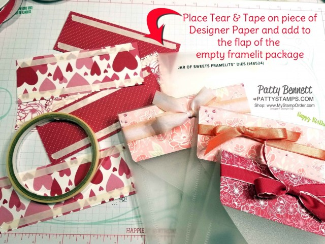 Repurposing Stampin' UP! framelit plastic envelopes with 2019 Occasions catalog designer paper and ribbon to use as gift packet holders for my Luv 2 Stamp Group. By Patty Bennett www.PattyStamps.com