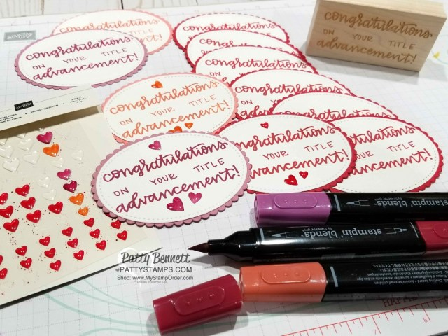 Color Stampin' UP! Heart Epoxy droplets with Stampin' Blends markers to create custom colored embellishments for your paper crafting projects. by Patty Bennett www.PattyStamps.com