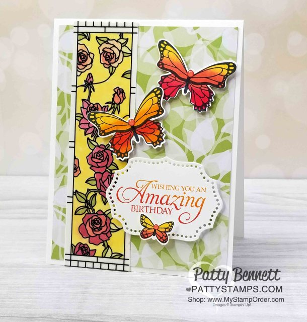 Stampin' UP! Butterfly Gala stamp set / punch bundle Monarch butterfly card featuring Graceful Glass Vellum and Spectrum rainbow pad, by Patty Bennett, www.PattyStamps.com