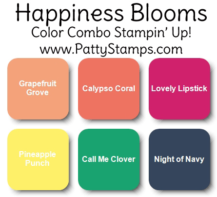 Bright color combo for Happiness Blooms designer paper from Stampin' UP!. www.PattyStamps.com