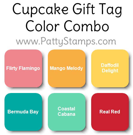 Color Combo for Sale-a-Bration 2019 Hello Cupcake stamp set from Stampin' UP! with matching Call Me Cupcake framelits. Birthday gift tag idea by Patty Bennett www.PattyStamps.com