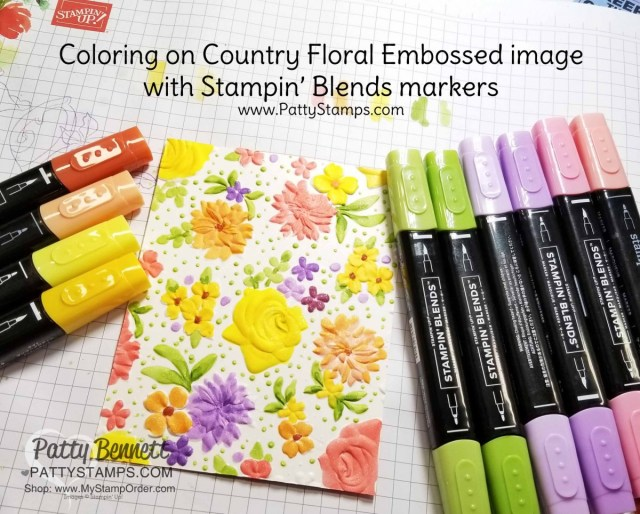 Color the Country Floral Embossing Folder image with Stampin' Blends markers! Birthday Card idea featuring the Sale-a-Bration limited-time offer embossing folder. www.Pattystamps.com