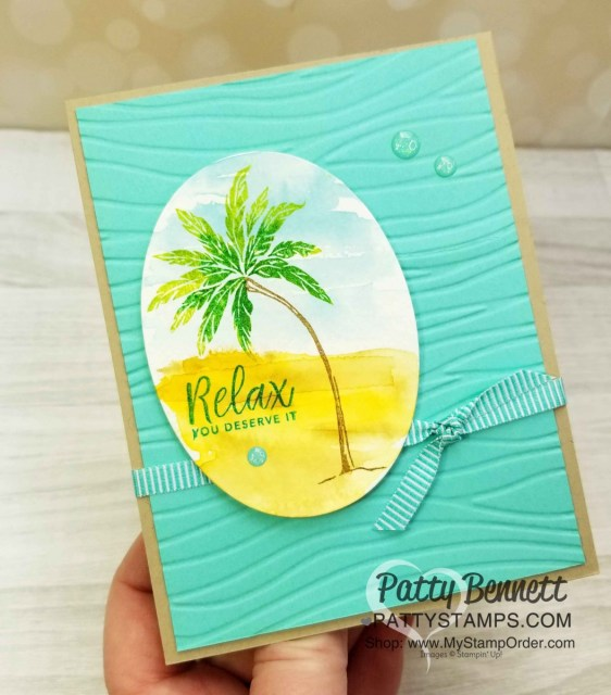 Stampin' UP! Beach Happy stamp set with watercolor background and stamped palm tree featuring Seaside embossing folder by Patty Bennett www.PattyStamps.com