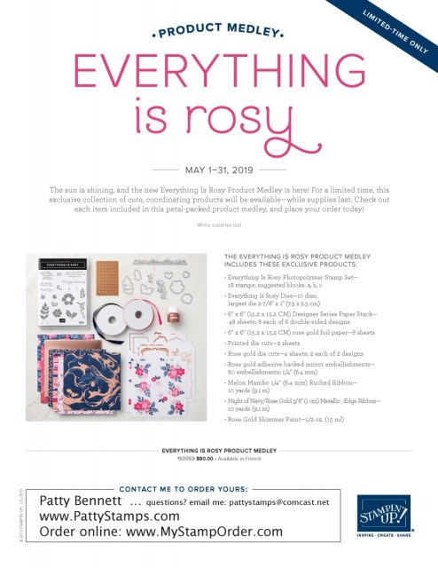 Everything is Rosy paper crafting / card making product medley available while supplies last from Stampin' Up! May 2019. Kit includes stamp set, framelit dies, 6x6 paper stack, rose gold foil paper, die cuts, ribbon and Rose Gold Shimmer paint. www.PattyStamps.com
