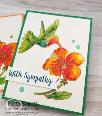 Humming Bird & Hibiscus Watercolor Card