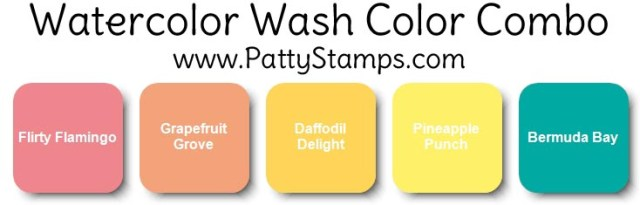 Stampin' Up! color combo for watercolor wash background - Butterfly Gala card. www.PattyStamps.com