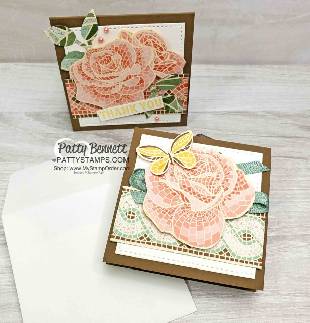 Mosaic Mood designer paper from Stampin' Up!. 3x3 floral card featuring fussy cut flower images from the Mosaic Mood DSP. www.PattyStamps.com