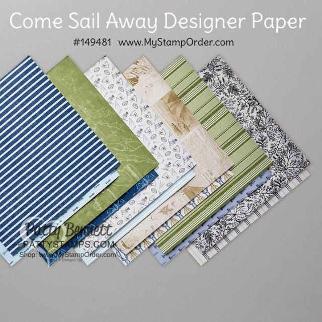 Stampin' UP! Come Sail Away designer paper pack #149481 available online www.MyStampOrder.com