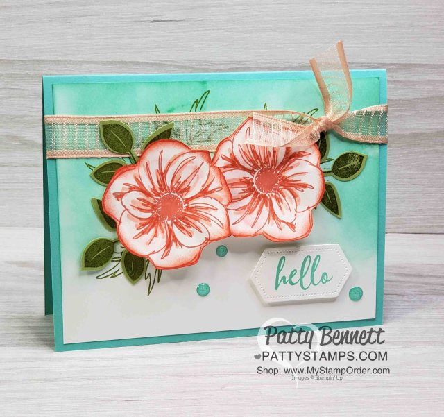 Stampin' UP! Floral Essence stamp set colored with Stampin' Blends markers. Sponged background and leaf punch. www.PattyStamps.com