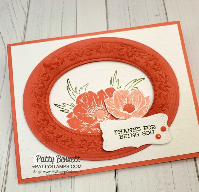 Stampin' UP! Heirloom Frames dies and Embossing folder #152325. Card ideas and how to use this great papercrafting frame combo from the Woven Threads suite by Patty Bennett