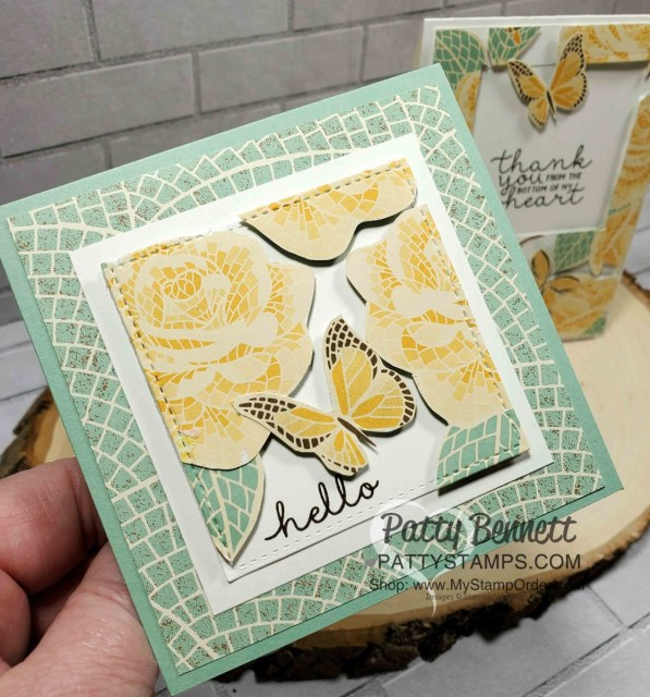 Press'n Seal Card Technique featuring Stampin' Up! Mosaic Mood designer paper. by Patty Bennett www.PattyStamps.com
