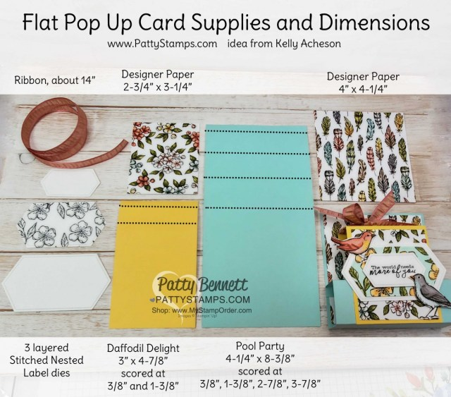 Cutting and Scoring measurements for Flat Pop Up Card featuring Stampin' Up! Free as a Bird stamp set colored with Stampin' Blends markers, and Bird Ballad designer paper. by Patty Bennett www.PattyStamps.com