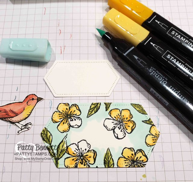 Stampin' Blends coloring on Stitched Nested Label dies with Free as a Bird stamp set - Stampin' Up!. www.PattyStamps.com