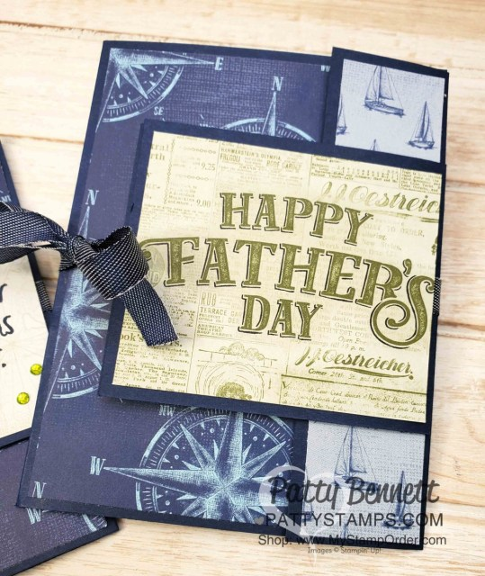 Stampin' UP! Come Sail Away Fun Fold Card with video tutorial, by Patty Bennett www.PattyStamps.com featuring Father's Day memories & more card