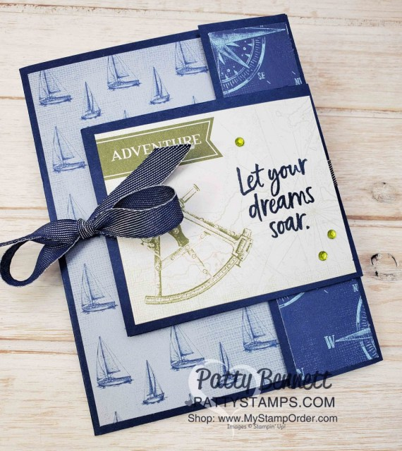 Stampin' UP! Come Sail Away Fun Fold Card with video tutorial, by Patty Bennett www.PattyStamps.com