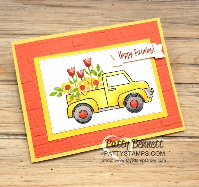 Stampin' UP! Ride with Me card idea featuring the Inspiring Iris floral stamp set and Brick and Mortar embossing Folder background. Truck colored with Stampin' Blends markers. By Patty Bennett, www.PattyStamps.com