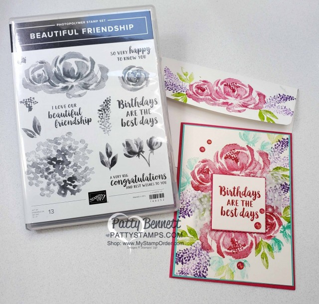 Beautiful Friendship Stampin' Up! flower card with Polka Dot Tulle Ribbon. www.PattyStamps.com