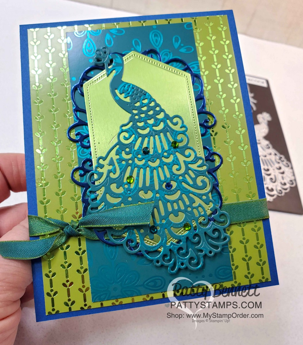 noble peacock foil card ideas  patty stamps