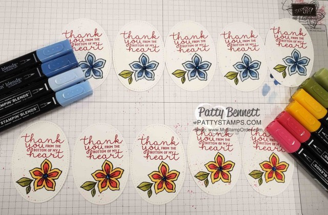 Stampin' Up! Pocketful of Happiness stamp set colored with Stampin' Blends, by Patty Bennett, www.PattyStamps.com