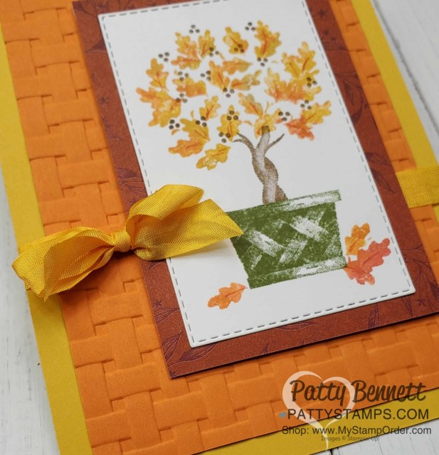 Stampin' UP! Beauty & Joy topiary card idea featuring the Basket Weave embossing folder and direct to rubber ink technique. by Patty Bennett www.PattyStamps.com