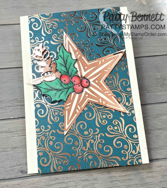 Beginner Stampin' Up! Christmas Card Idea featuring the Brightly Gleaming Suite, Copper Foil Star and colored holly with Stampin' Blends marker by Patty Bennett www.PattyStamps.com