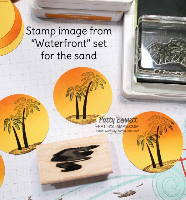 Stamped palm tree circles for Stampin' UP! Friend Like You stamp set Happy Day card for my Luv 2 Stamp Group Maui Trip Achievers. www.PattyStamps.com