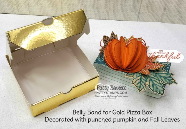 Stampin' Up! Gold Pizza Box with 3-D pumpkin and Gather Together designer paper fall leaves. Embellish with Gold Delicata ink. www.PattyStamps.com