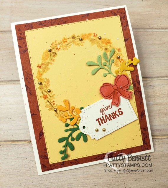 Stampin' UP! Seasonal Wreaths set with Gold Delicata Metallic ink. Fall cardmaking ideas by Patty Bennett, www.PattyStamps.com