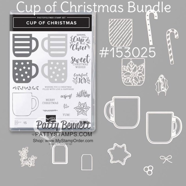 153025 Stampin Up Cup of Christmas bundle featuring Cup of Cheer dies and Cup of Christmas stamp set.