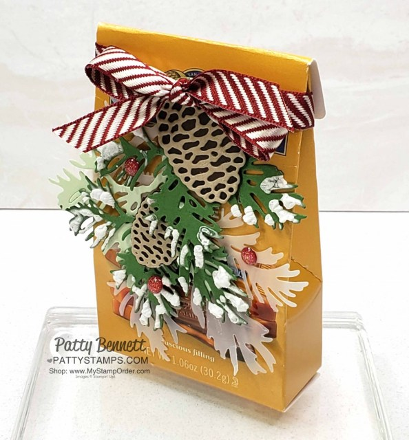 Beautiful Boughs dies from Stampin' Up! - die cut pine boughs and pinecones on a Ghirardelli Chocolate squares snack pack - great hostess gift idea or stocking stuffer. www.Pattystamps.com