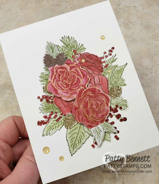 Christmastime is Here suite from Stampin Up Christmas Rose stamp set - Christmas Card idea by Patty Bennett www.PattyStamps.com