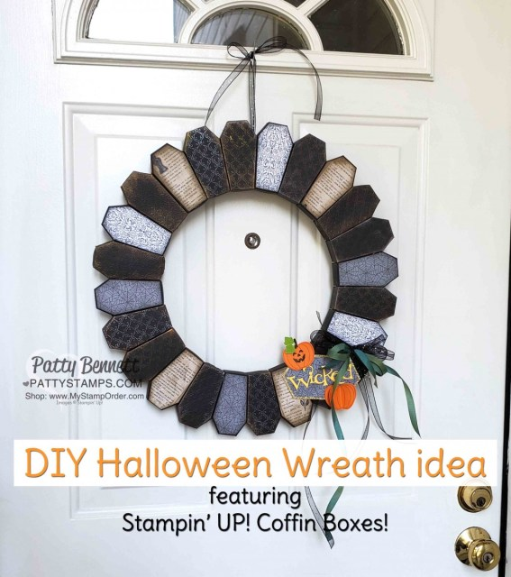 DIY Halloween Wreath idea featuring Coffin Boxes from Stampin Up! - with Stylish Scroll embossing folder and Delicata metallic inks, by Patty Bennett, www.PattyStamps.com