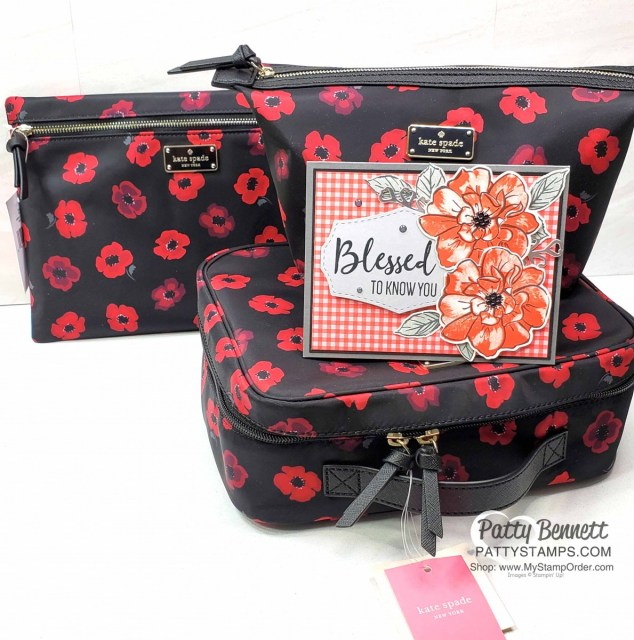 To a Wild Rose card stamped by Kurstan, in Poppy Parade matches the Kate Spade cosmetic bag ensemble gift!! Stampin Up black enamel shapes are perfect flower centers!