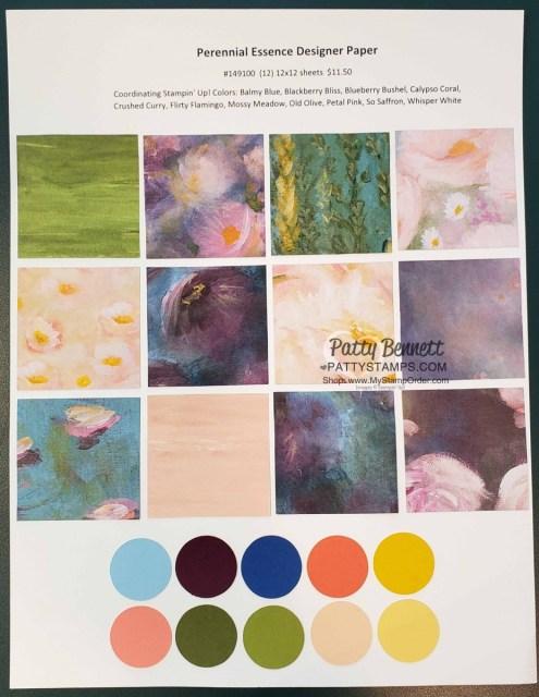 149100 Stampin Up Perennial Essence designer paper floral patterns www.PattyStamps.com