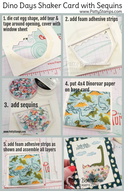 How to make the Shaker Card featuring Stampin Up Dino Days stamp set and Dinoroar enamel shapes with sequins! Great baby card or little boy birthday card idea. www.PattyStamps.com