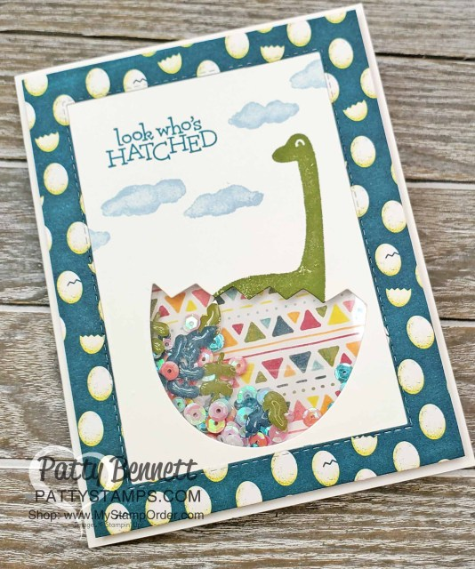 Shaker Card featuring Stampin Up Dino Days stamp set and Dinoroar enamel shapes with sequins! Great baby card or little boy birthday card idea. www.PattyStamps.com