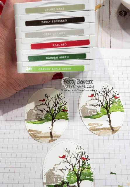 Color Combo for Stampin Up Snow Front stamp set Christmas or Holiday card ideas by Patty Bennett www.PattyStamps.com