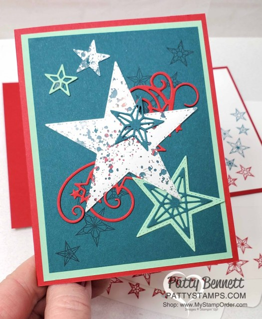 So Many Stars Stampin Up bundle card idea featuring Mercury Glass acetate star. www.PattyStamps.com