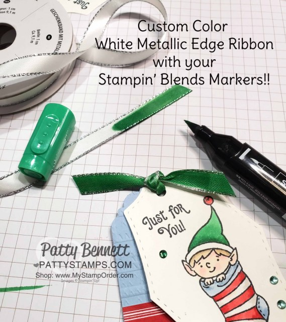 Tip! Color White ribbon with Stampin' Blends markers to match your crafting project! #Elfie stamp set colored with Stampin' Blends markers - fun tag idea by Patty Bennett, also featuring Let it Snow designer paper. www.PattyStamps.com