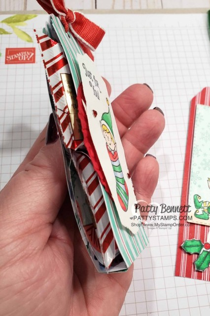 #Elfie stamp set colored with Stampin' Blends markers - fun Christmas chocolate treat idea by Patty Bennett, also featuring Let it Snow designer paper. www.PattyStamps.com