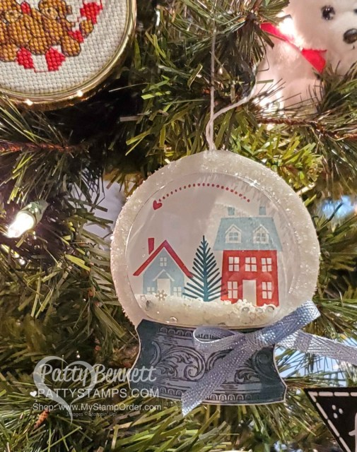 Snow Globe Shaker Dome Christmas Ornament featuring Stampin Up From Our House to Your stamp set, Stampin' Ice Glitter and Snowflake Sequins. www.PattyStamps.com
