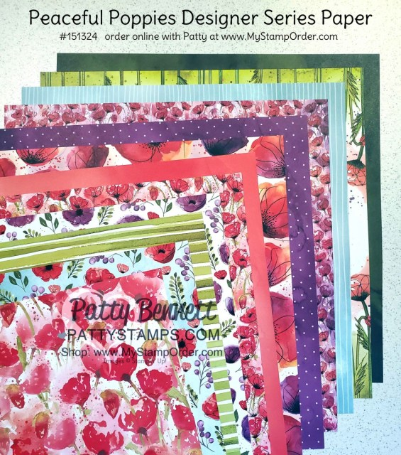 Stampin Up Peaceful Poppies designer paper 2020 Jan-June Mini catalog #151324 order online at www.MyStampOrder.com