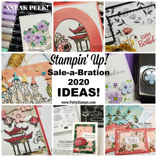 Stampin Up 2020 Sale-a-Bration tips, samples and ideas + video product review by Patty Bennett www.PattyStamps.com