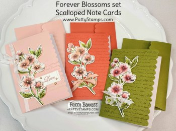 Scalloped Note Cards with Parisian Cherry Blossoms