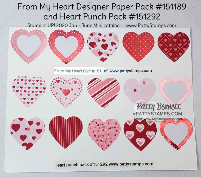 From My Heart designer paper from Stampin Up featuring foiled hearts perfect for punching with the Heart Punch Pack. order online Patty Bennett www.PattyStamps.com