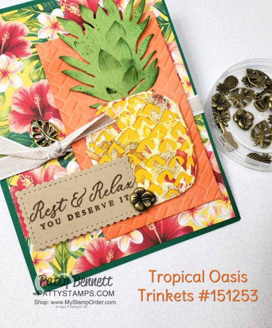 Tropical Oasis Trinkets on Tropical Oasis Pineapple card idea featuring Stampin Up Timeless Tropical bundle and Coastal Weave embossing folder by Patty Bennett www.PattyStamps.com
