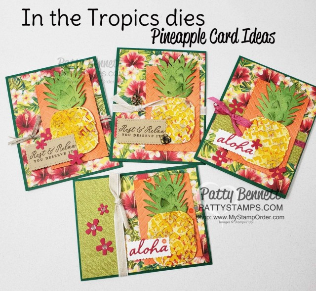 Tropical Oasis Pineapple card ideas featuring Stampin Up Timeless Tropical bundle and Coastal Weave embossing folder by Patty Bennett www.PattyStamps.com