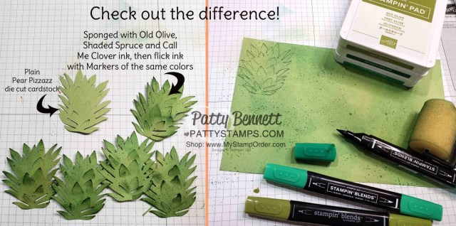 Craft Tip: Sponge color with sponge brayer, and flick color with markers onto green cardstock then die cut the In the Tropics pineapple for great color and texture. by Patty Bennett www.PattyStamps.com