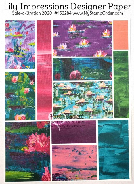 152284 Lily Impressions designer paper from Stampin Up Sale-a-Bration 2020 gift option. www.PattyStamps.com