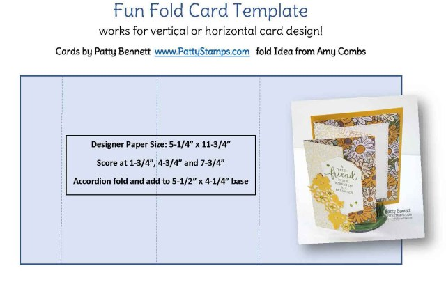 Fun Fold Card Design template with cutting and scoring directions by Patty Bennett www.PattyStamps.com featuring Ornate Garden Suite.